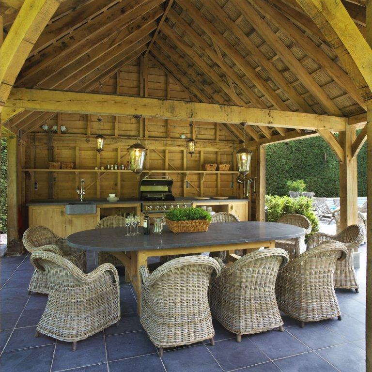 Buitenkeukens - Exclusieve eikenhouten bijgebouwen en tuinpaviljoens